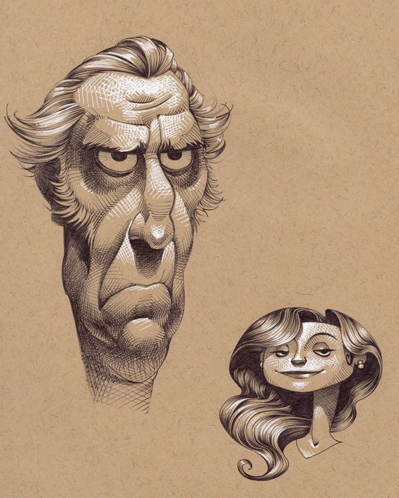 A couple of character design drawings by Kevin Keele
