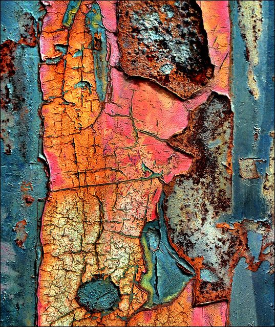 Color. Colour inspiration. This rusty picture demonstrates texture very well.