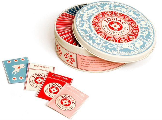 Packaging and branding for Zodiac - Polish assorted tea. The design combines the Chinese zodiac wheel with traditional Polish paper-cuts.
