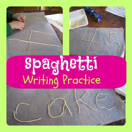 你可以感谢我六岁的女儿这个想法。她厌倦了一家餐馆,开始用意大利面条在桌子上写下自己的名字。在离开之前,我将所有未吃过的意大利面条舀成一个外卖容器,当天下午的活动就此诞生了。使用蜡纸和尖锐的纸张,我写了六岁的视力词和我三岁的一些数字,然后给了他们容器的意大利面条。如果你三岁,从午餐开始大约一个小时,这个项目也是一个很棒的小吃。面条有点橡胶状和有关保持形状,因此我们将它们浸泡在一碗温水中,然后拍干它们。之后他们的表现要好得多。接下来:用这种方法为我八岁的孩子做草书练习。
