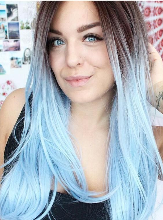 Long Black To Sky Blue Ombre Straight Synthetic Lace Front Wig Long Black To Sky Blue Ombre Straight Synthetic Lace Front Wig