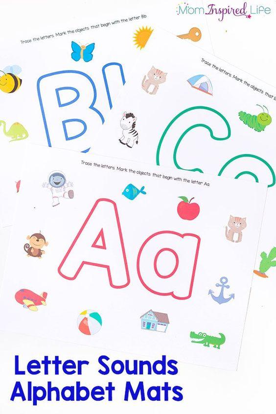 这些字母的声音字母垫是孩子学习字母和开始字母声音的实用方法。它们可以与面团或干擦标记一起使用。