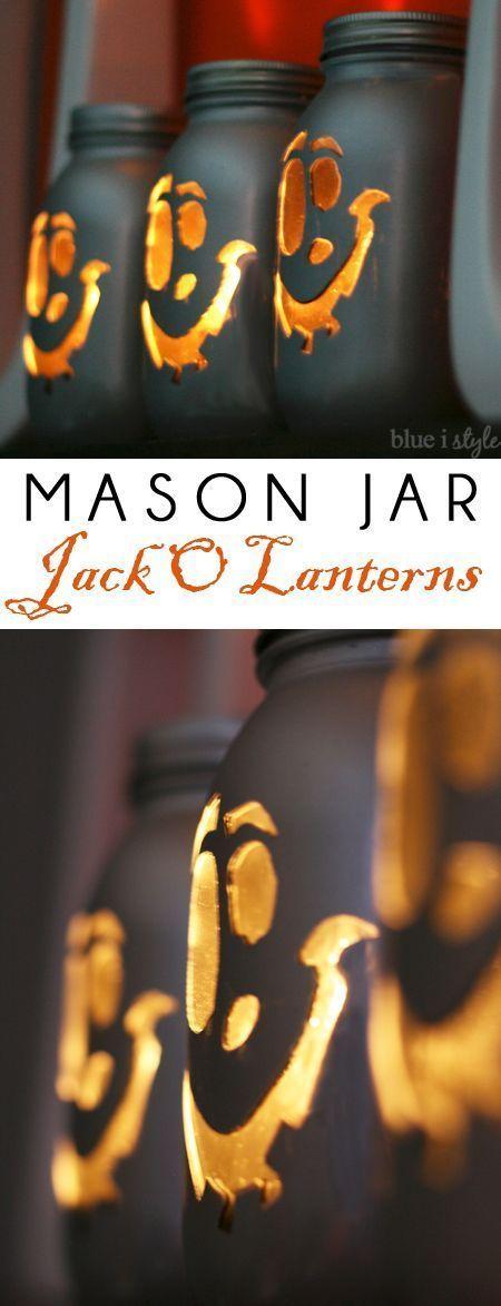 现代梅森杰克杰克O'Lanterns。将梅森罐变成发光的万圣节装饰,非常适合万圣节桌面或万圣节外套。