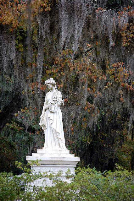 在灰色青苔和秋天的叶子,文德公墓,萨凡纳,乔治亚州的白色哀悼者被钉住