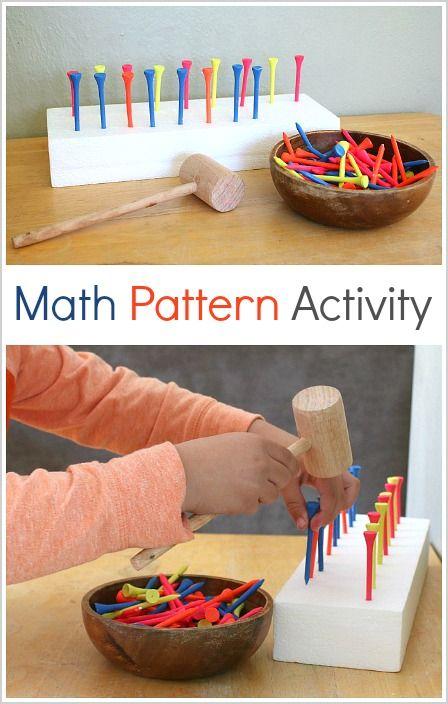 这里有一个有趣的精细运动数学活动,适用于幼儿园和幼儿园的数学模式!在这个亲身实践的数学活动中,孩子们将通过将高尔夫球杆冲入发泡胶块来创造出模式!