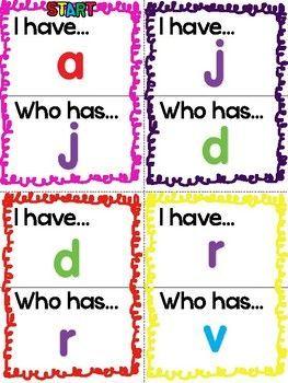 """自由!一个有趣的""""我有!谁有?""""帮助孩子掌握小写字母和声音的游戏。玩得开心!"""