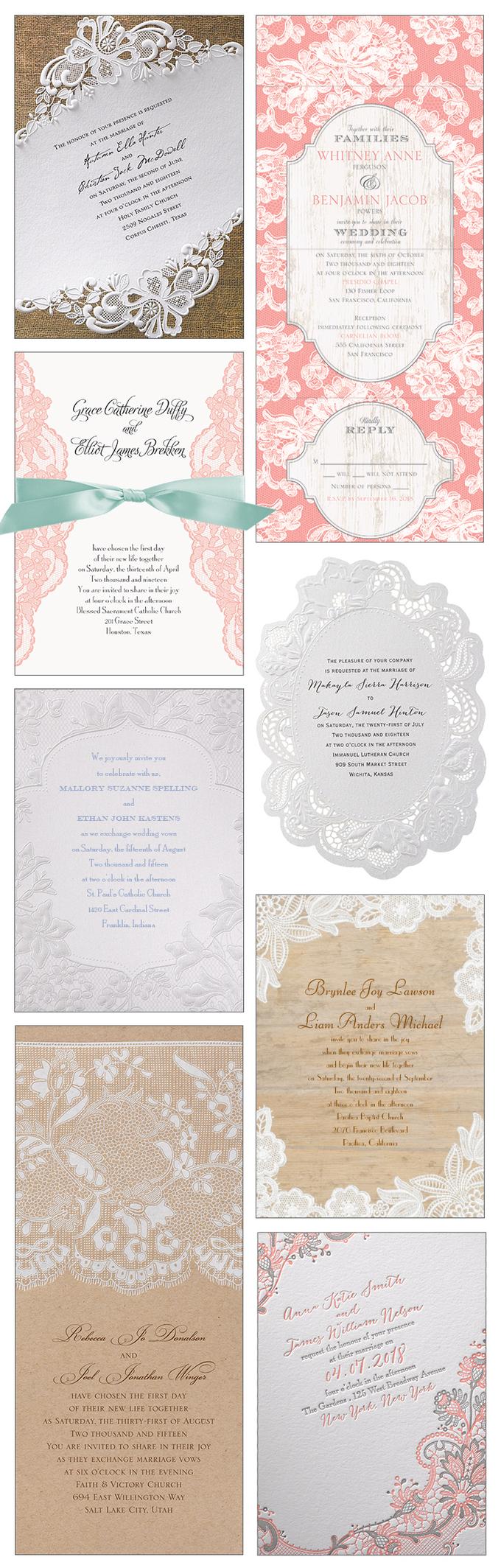 经典,复古,乡村或乡村。蕾丝婚礼邀请补充了许多主题,永远不会过时。