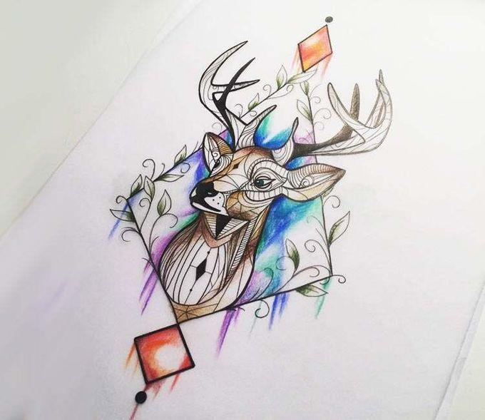 Deer drawing by Kerste Diston