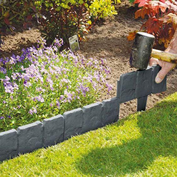 10包灰色鹅卵石效果塑料花园草坪磨边植物边框