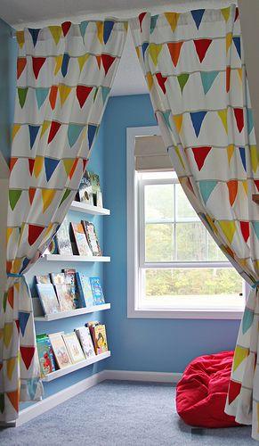 用窗帘读角落。
