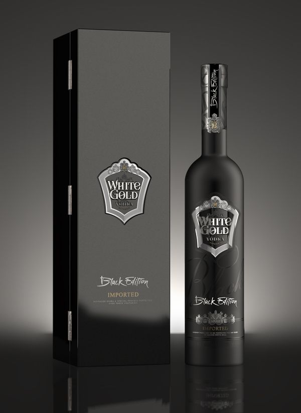 #packaging conundrum : ) White Gold Vodka (Black Edition) PD