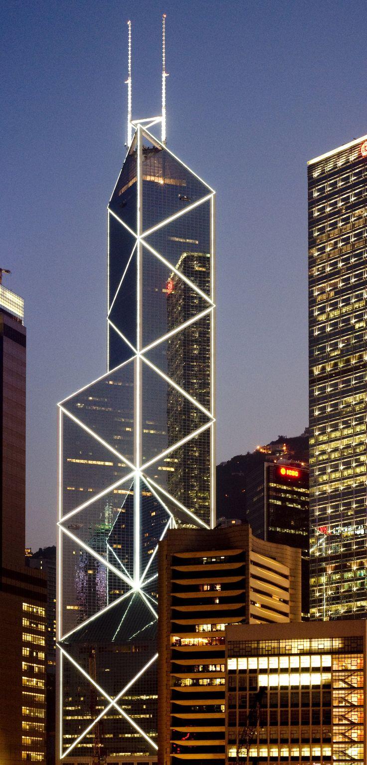 Bank of China Tower, Hong Kong by I.M. Pei & Partnersand Sherman Kung & Associates Architects :: 72 floors, height 367m