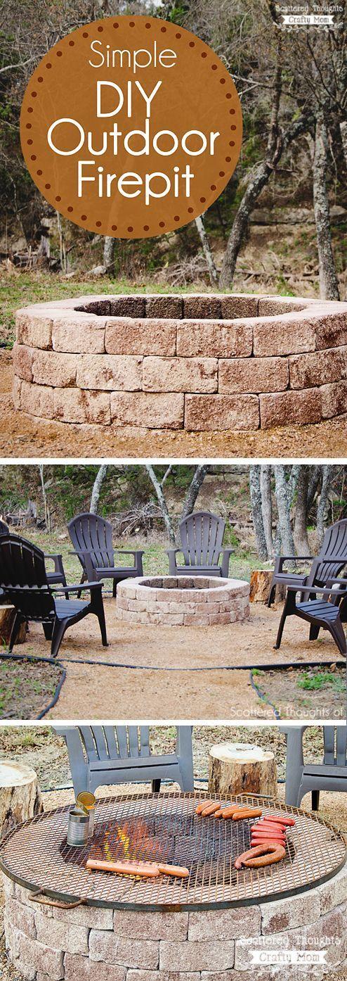 如何建立一个火坑:整理你的后院w /这个简单的DIY户外火坑的想法。这是一个完美的秋季周末项目!