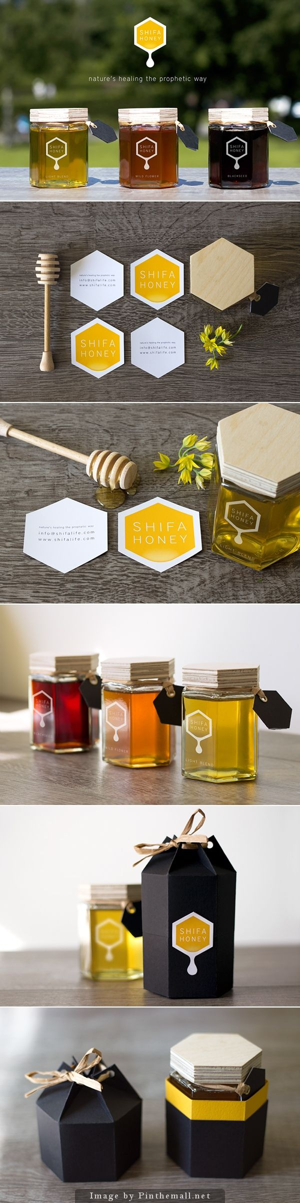 Shifa Honey packaging and logo design. I love the hexagon jars for honey…