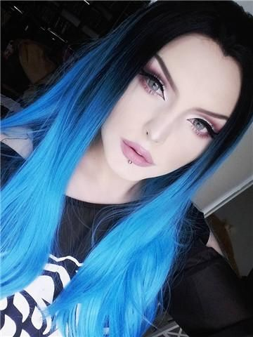 Magical Electric Blue Long Straight Synthetic Lace Front Wig Magical Electric Blue Long Straight Synthetic Lace Front Wig