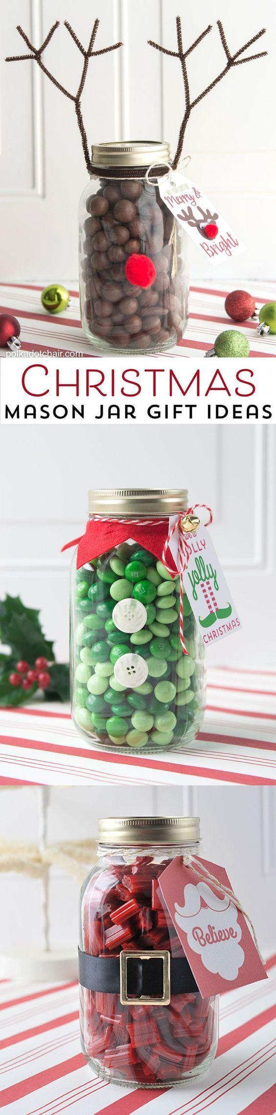 一个可爱而简单的圣诞礼物想法,一个驯鹿圣诞梅森罐子礼物,这个圣诞节给它的邻居,包括可打印的标签