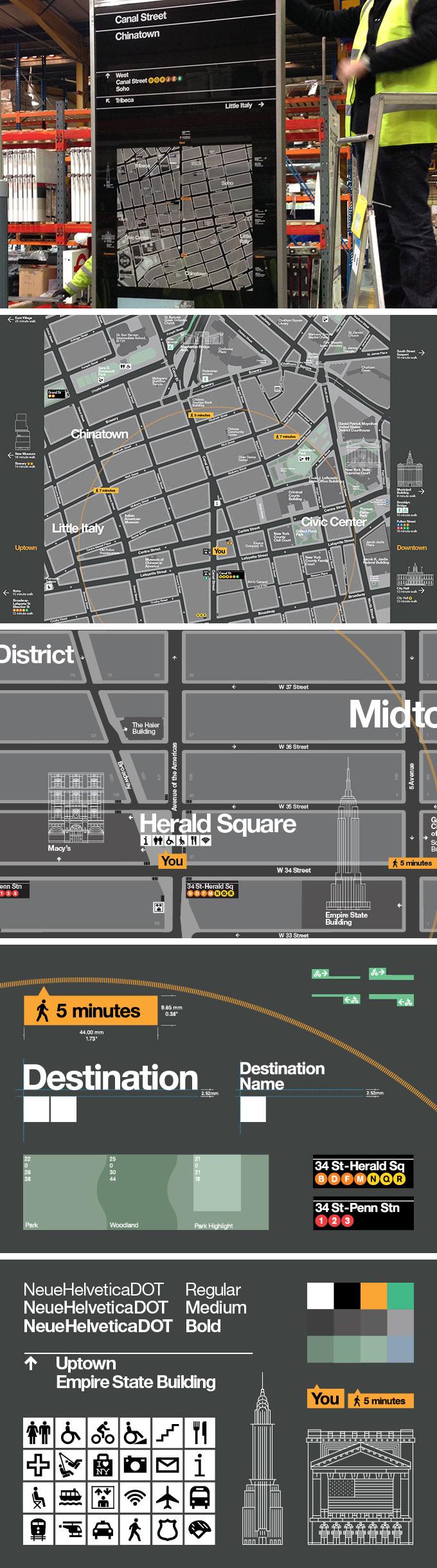 En mayo de 2013, el Departamento de Transporte de la Ciudad de Nueva York (NYC DOT) dio a conocer la primera fase de su sistema de orientación para toda la ciudad. El proyecto, diseñado por PentaCityGroup (PCG), es un punto de referencia para otras ciudades globales. En su primera fase, el sistema de información basado en mapas situado en las calles guía a los peatones por los barrios, y los situados en cada estación CitiBike ayudan a los usuario a planificar sus viajes.