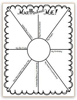 """学生填写光线,分享与自己有关的数学相关事实。有关更多信息和样本,请参阅此文章 -  http://mrssolsclass.blogspot.com/2013/07/math-about-me.html还请参阅: - 关于我的数学2  - """"我的邮政编码"""" - 关于我的数学3  - """"我的睡前"""""""