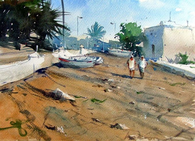 Tim Wilmot Watercolours Lanzarote on Saunders Waterford Rough paper.