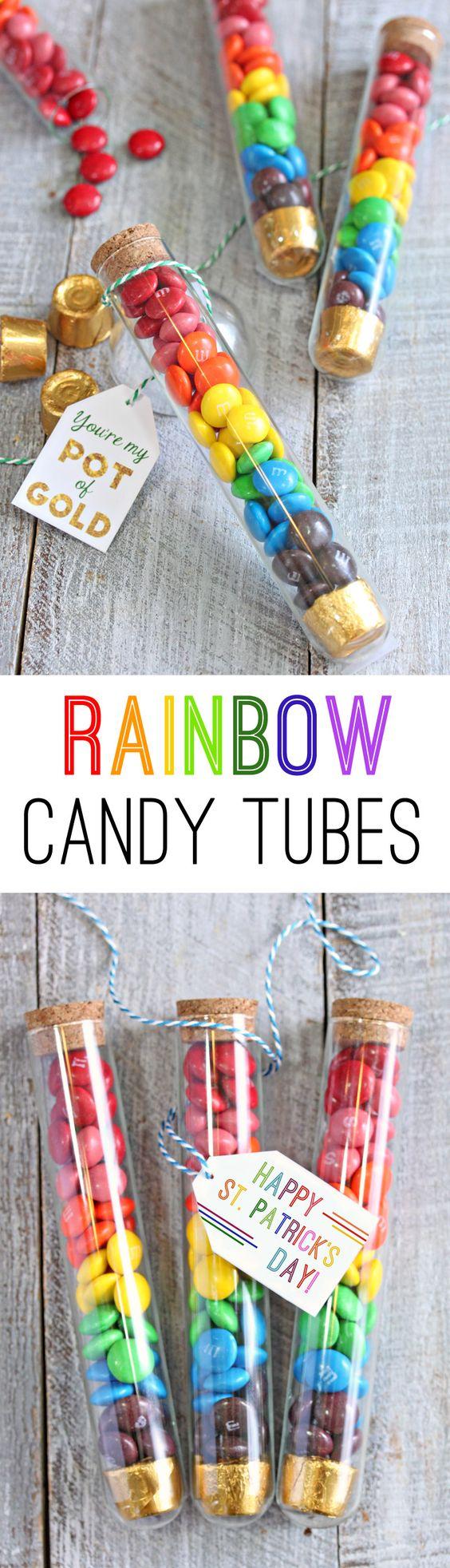 彩虹糖果管是一个有趣的圣帕特里克节礼物。用糖果填充管子,然后用可爱的礼物标签(包括可打印的文件)完成。