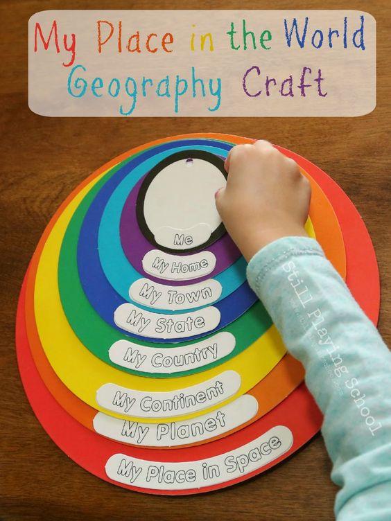 通过地理工艺活动教孩子们他们在世界上的地址和位置