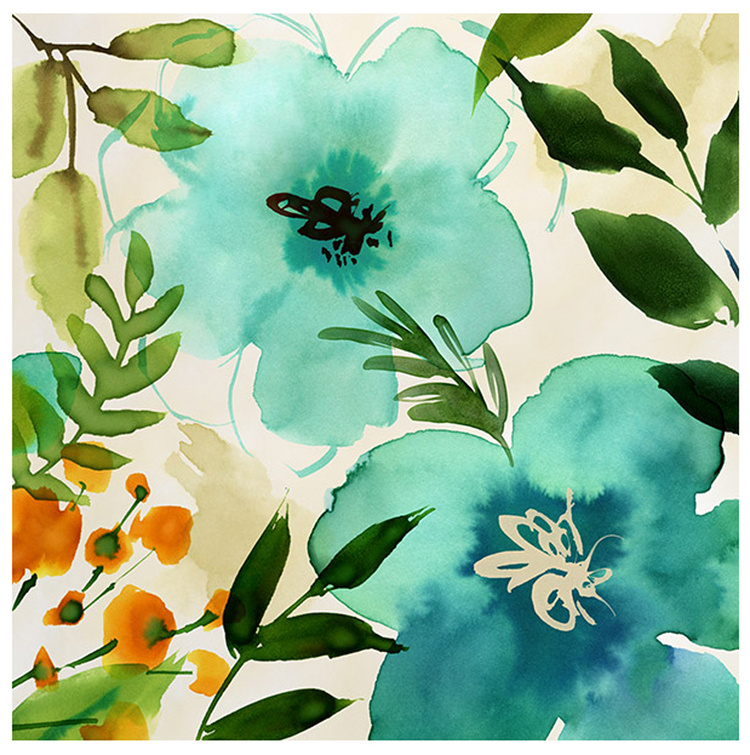 Teal painterly floral by Margaret Berg