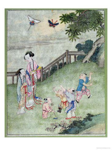 孩子们在玩风筝。早期中国画。
