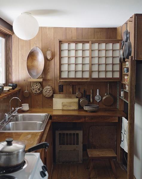 George Nakashima's simple Japanese styled kitchen.