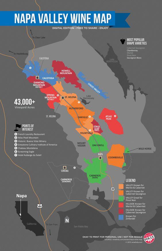纳帕谷葡萄酒指南,着名的加利福尼亚州AVA概况。纳帕谷酿酒厂,葡萄品种,纳帕谷地图,气候和风土。
