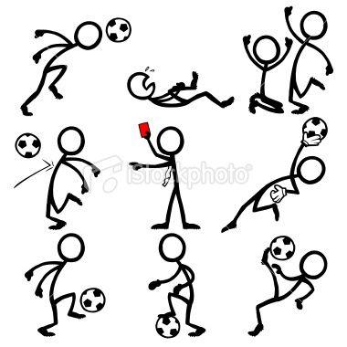 棒图人民踢足球。