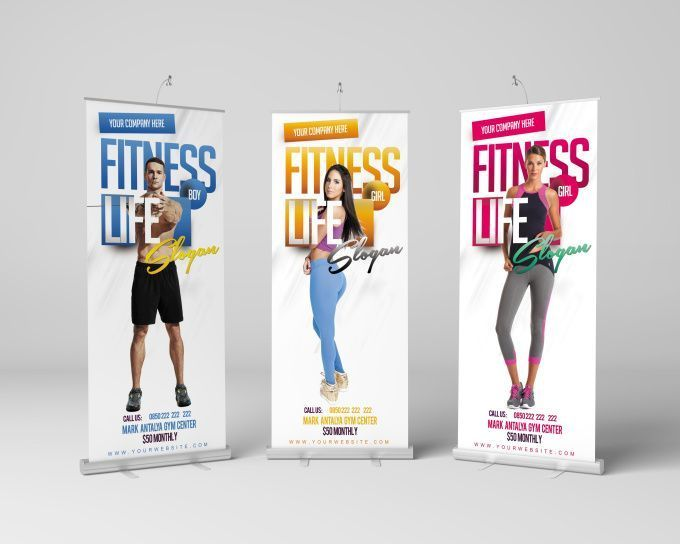 design Fitness,Gym Themed Retractable,Roll Up,Pop Up,Backdrop Banner