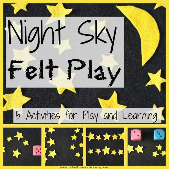 DIY夜空毛毡玩具套装。幼儿假装游戏和4个学龄前数学游戏的想法。 N的一部分是来自梦幻乐趣和学习的夜晚主题