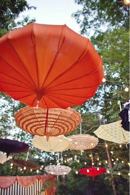 21 DIY户外和悬挂装饰理念|五彩纸屑白日梦 -  DIY挂伞装饰♥#DIY #OutdoorDecor #HangingDecor