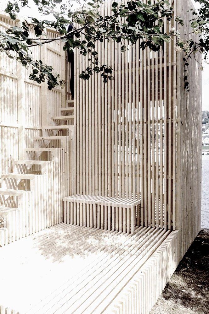 板条木花园建筑......