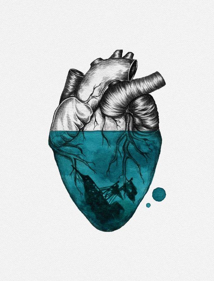 沉没的心脏帆布印刷品