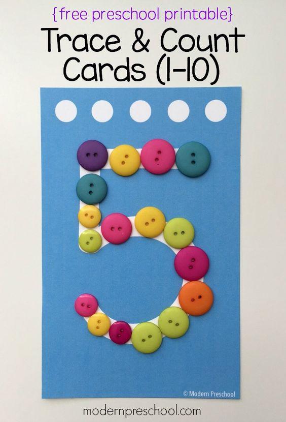 为幼儿和学龄前儿童准备这些免费的可打印号码卡,以便练习识别,一对一通信和编号。