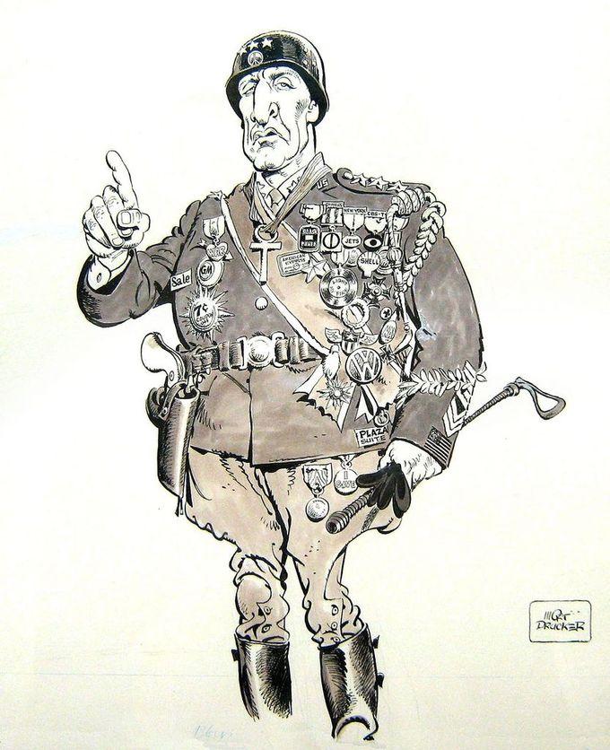 George C. Scott as General George Patton by Mort Drucker, caricature cartoon portrait drawing face stylized