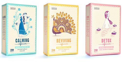 #tea #packaging #vintage #series #drawing –– Marks Spencer Tea 50 Fantastic Examples of Beverage Packaging Design
