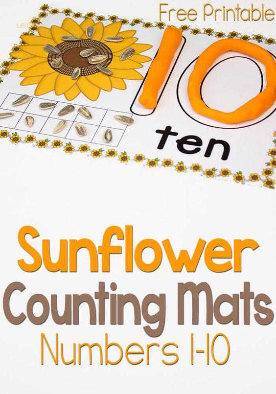 这些免费向日葵玩数字1-10的面团计数垫包括数字,数字,十帧和一一对应,