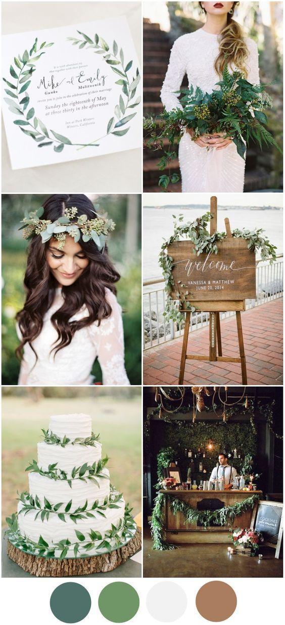 绿色婚礼主题2016婚礼调色板 - 今年我们最喜欢的调色板之一是这个优雅,朴实的绿色主题。适合秋冬季节(虽然我们不会告诉春天的新娘要么排除它!),绿色主题可以融入大日的每一个部分,从邀请到花束到蛋糕!