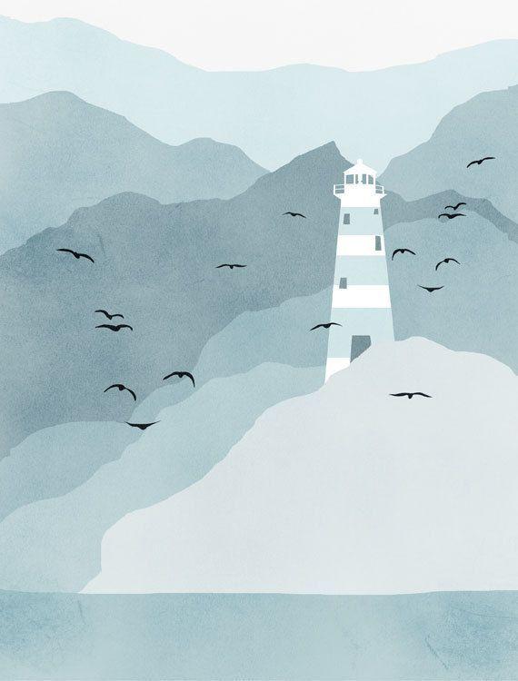 SALE Lighthouse Art Print, Nautical Decor, Beach Decor, Nautical Print - Grey Blue. $18.00, via Etsy.