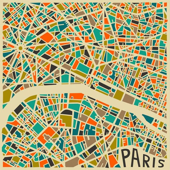 city map paris (modern abstract)