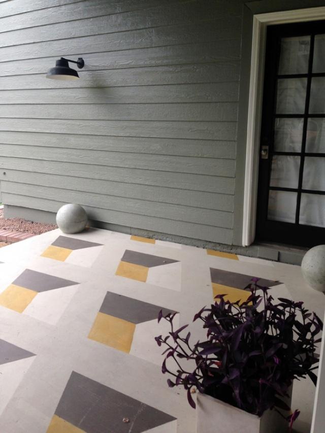crazy good geometric floor porch DIY