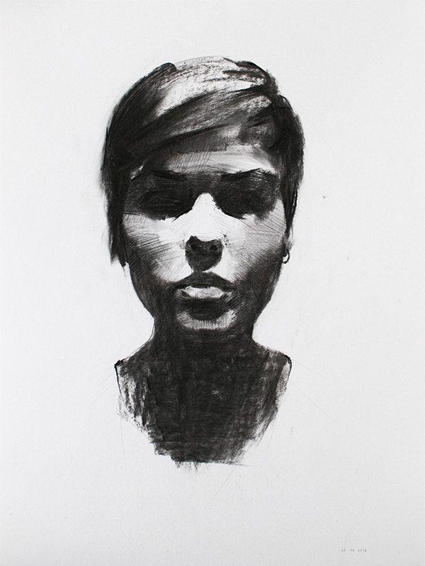 Behance的木炭肖像研究