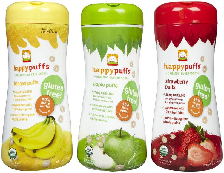 Happy Baby Apple, Banana & Strawberry Puffs - a melt-in-your-mouth organic finger food for babies and toddlers, using all non-GMO ingredients, and certified organic, gluten free, kosher, soy free and dairy free, with pre- and pro-biotics for immune support and BPA-free packaging. #bestof2013