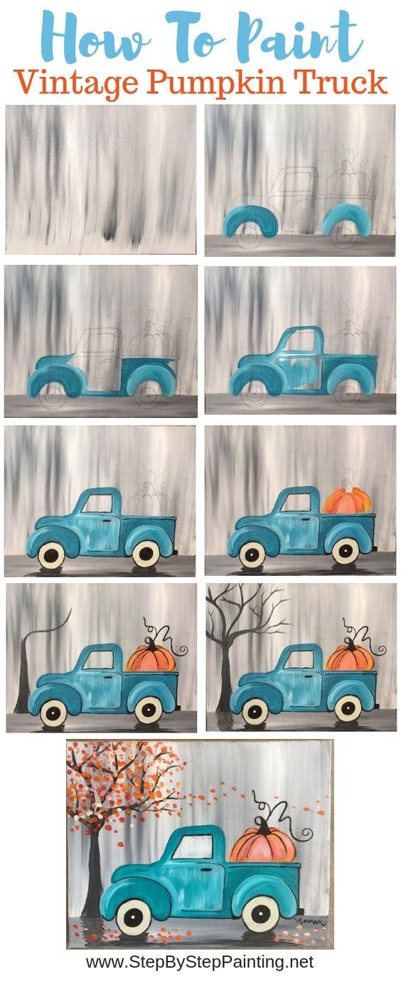"""33.3kshares""""如何画一辆老式南瓜卡车""""学习如何在后面用南瓜画这款绝对可爱的蓝绿色老爷车!初学者可以在11""""x 14""""拉伸帆布上学习如何使用丙烯酸涂料。这幅画非常容易,你没有画卡车!我画了...继续阅读""""如何画一辆老式南瓜卡车"""""""