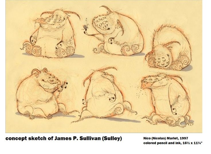 Another of these conceptual sketches ofJames P. Sullivan (Sulley)for Monsters Inc. - Nico Marlet