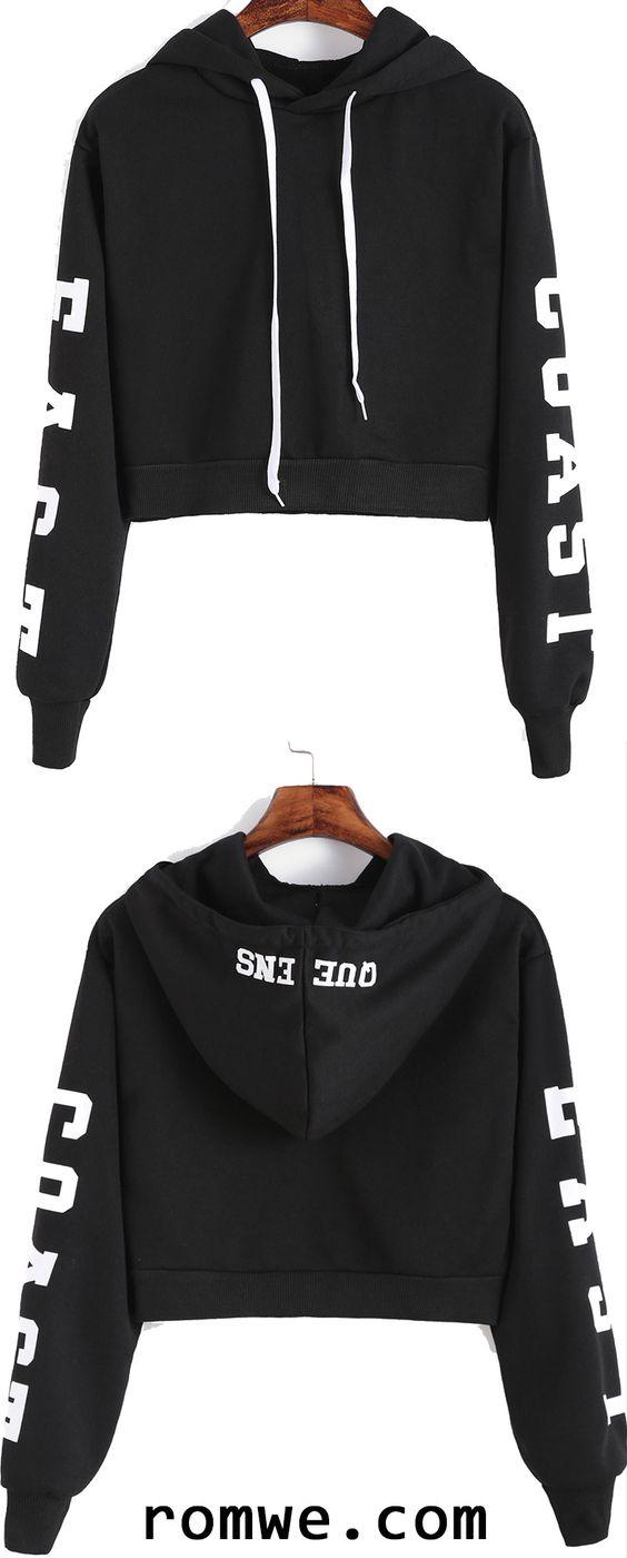 黑色连帽字母印花作物运动衫