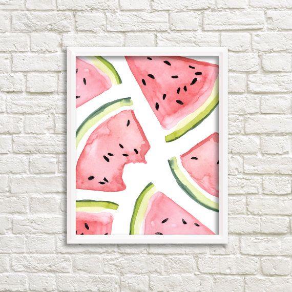 Watercolor Watermelon Slices 8x10 Printable Wall Art, Watermelon Print, Summer Print, Fruit Print, Picnic Print, Kitchen Decor, Food Decor