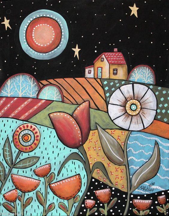 晚安11x14风景原画帆布绘画抽象民谣艺术卡拉G ...新的待售绘画,准备挂...